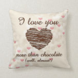 Te amo más que corazones rosados del chocolate almohada