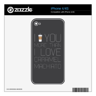 Te amo más que el caramelo Machiatto Skins Para eliPhone 4