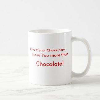 ¡Te amo más que el chocolate!  Taza con nombre