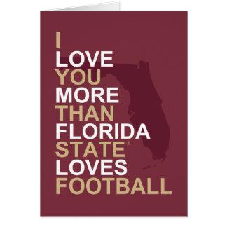Te amo más que el estado de la Florida ama fútbol Tarjeta De Felicitación