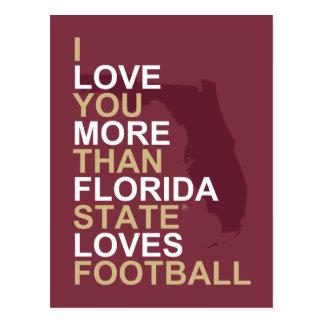 Te amo más que el estado de la Florida ama fútbol Tarjeta Postal