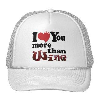 Te amo más que el vino gorras de camionero
