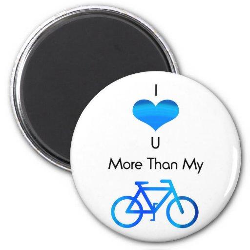 Te amo más que mi bici en azul imanes para frigoríficos