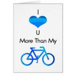 Te amo más que mi bici en azul tarjetas