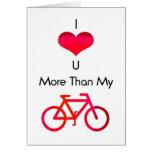 Te amo más que mi bici en blanco y rojo tarjetas
