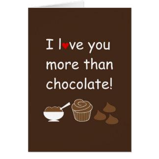 Te amo más que tarjeta del chocolate