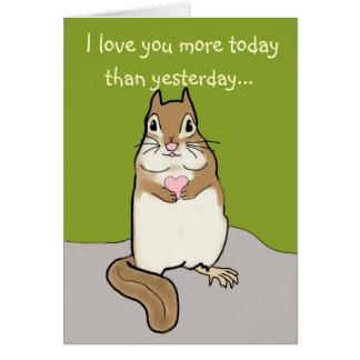 Te amo más….Tarjeta del Chipmunk