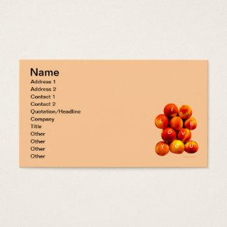 Te amo melocotones tarjetas de visita