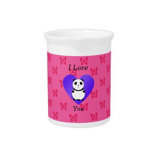 Te amo modelo de mariposa rosado de la panda jarras