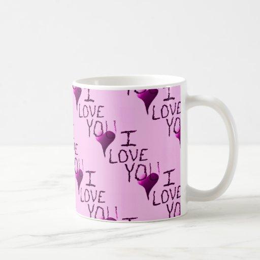 Te amo modelo dibujado mano linda de la púrpura de tazas