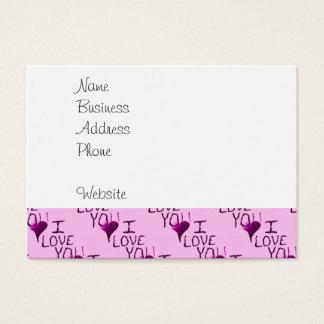 Te amo modelo dibujado mano linda de la púrpura tarjeta de negocios