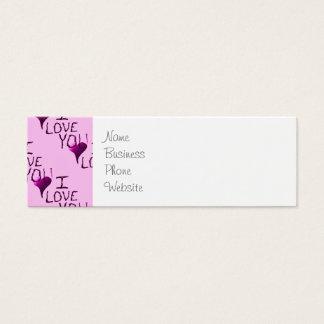 Te amo modelo dibujado mano linda de la púrpura tarjetas de visita mini