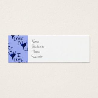 Te amo modelo dibujado mano linda del azul del tarjetas de visita mini