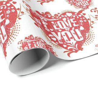Te amo modelo retro floral de los corazones papel de regalo