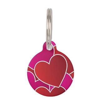 Te amo modelo rojo y rosado de los corazones placa para mascotas