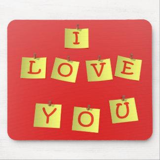 Te amo notas pegajosas amarillas Mousepad