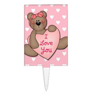 Te amo oso de peluche figuras de tarta