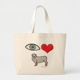 Te amo - oveja del corazón del ojo bolsa tela grande