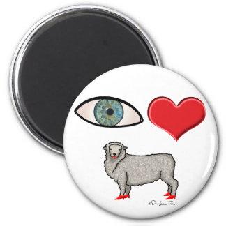 Te amo - oveja del corazón del ojo imán redondo 5 cm