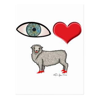 Te amo - oveja del corazón del ojo tarjeta postal