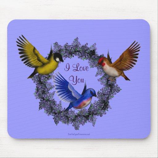 Te amo pájaros en la guirnalda Mousepad de la flor Tapete De Ratón