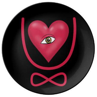 Te amo para siempre eternidad del corazón U del oj Platos De Cerámica
