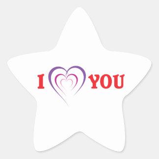 Te amo calcomanía forma de estrella personalizada