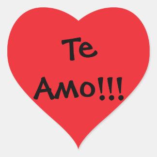 ¡te amo!! pegatina en forma de corazón