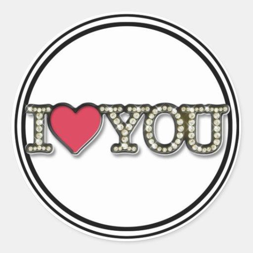 Te amo pegatina rojo del corazón