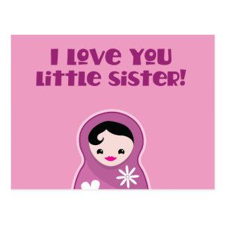 ¡Te amo pequeña hermana! muñeca del babushka Tarjetas Postales