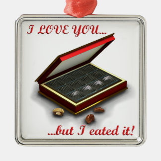 ¡Te amo, pero yo eated lo! Adorno Cuadrado Plateado