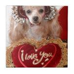 Te amo perro de caniche azulejo ceramica