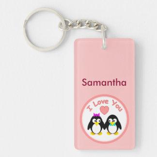 Te amo, pingüino, Personalied Llavero Rectangular Acrílico A Doble Cara