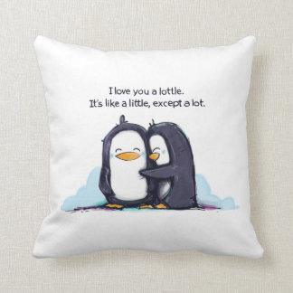Te amo pingüinos de un Lottle - almohada