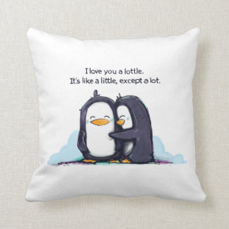 Te amo pingüinos de un Lottle - almohada Cojín Decorativo