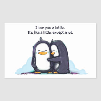 Te amo pingüinos de un Lottle - pegatina