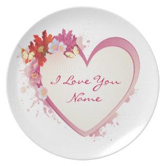 Te amo placa 5 platos para fiestas
