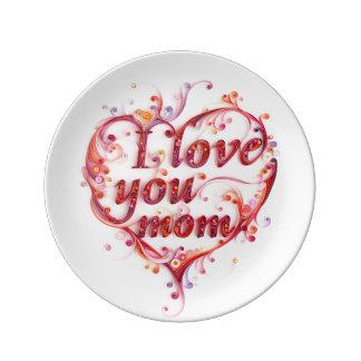 Te amo placa de la mamá plato de cerámica