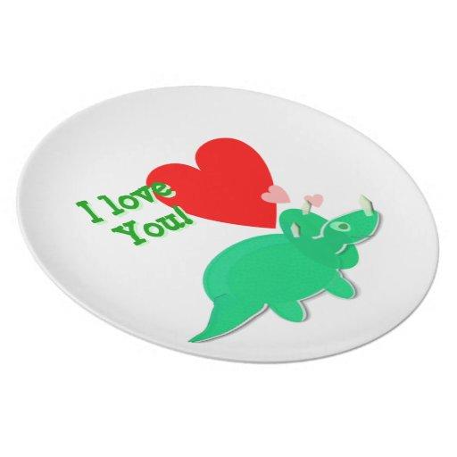Te amo placa del Triceratops del dinosaurio del di Plato