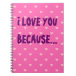 Te amo porque… Diario rosado modelado corazón Libreta