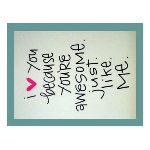 Te amo porque usted es postal impresionante