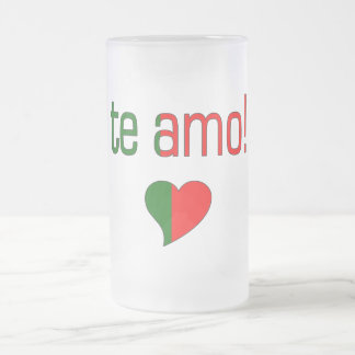 Te Amo! Portugal Flag Colors Frosted Glass Beer Mug