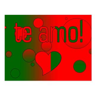 Te Amo! Portugal Flag Colors Pop Art Postcard