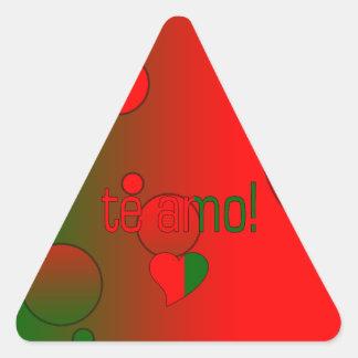 Te Amo! Portugal Flag Colors Pop Art Triangle Stickers