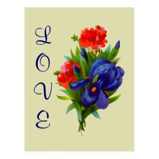 Te amo postal azul de la flor del ramo del iris