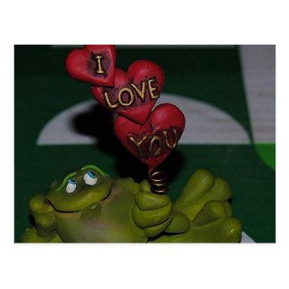 Te amo postal de la rana