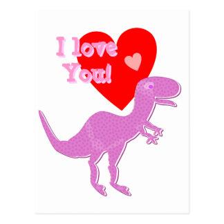 Te amo postal de T-Rex del dinosaurio del dibujo a