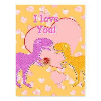 Te amo postal linda de los dinosaurios de T-Rex