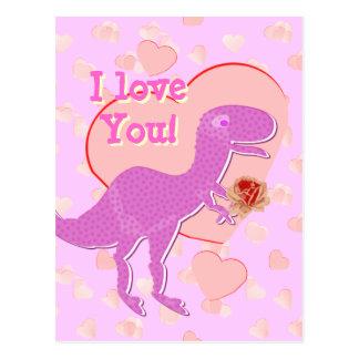 Te amo postal linda de T-Rex del dinosaurio