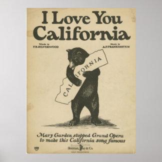 Te amo poster de California Póster